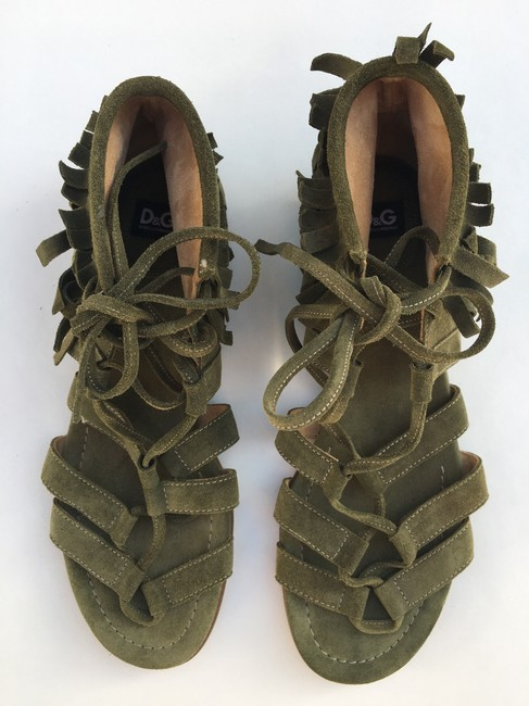 Chanel Red Suede Lace Up Sandals Size EU 39 (Approx. US 9