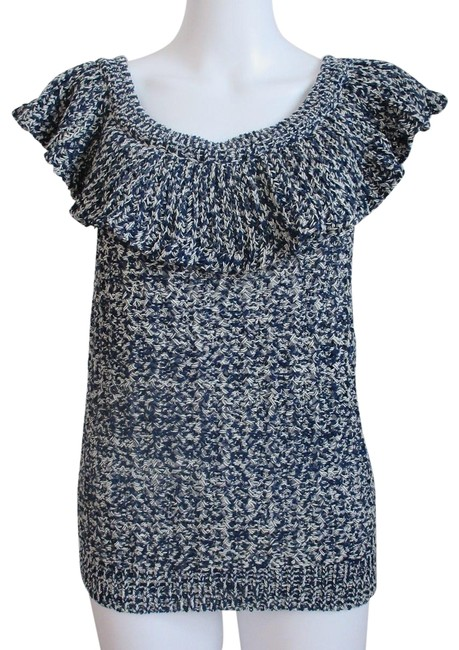 Item - Multi Blue Women's Knit Sleeveless Ruffled Vest Tank Top/Cami Size 10 (M)