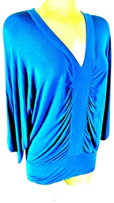 Item - Blue Gathered Front Top Stretch Blouse Size 4 (S)