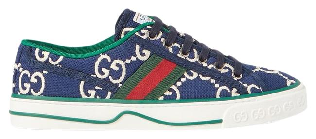 Item - Navy White New Tennis Gg Logo Embroidered Canvas Sneakers Size EU 37.5 (Approx. US 7.5) Regular (M, B)