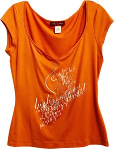 Baby Phat Vintage Fitted Cat Logo Large T Shirt Muted orange