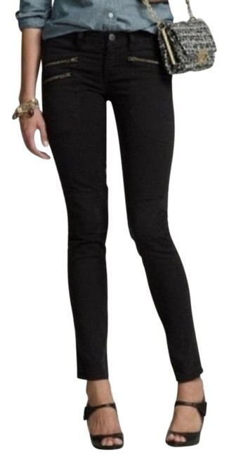 Item - Black Coated Moto Zipper Pocket Skinny Jeans Size 25 (2, XS)