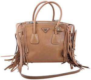 Prada Fringed Twin Pocket Cheap Tote in Tan