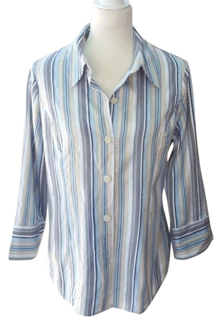 Austin Reed Blue Striped Silk Blouse Size 10 M Tradesy