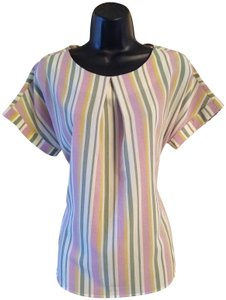 Monteau Los Angeles Belted Striped Short Sleeve Pullover Top Pink, Green, Cream & Gold