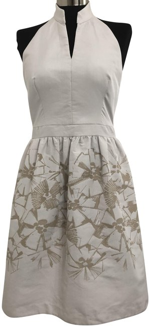 Item - White Tan Embroidered A-line Halter Mid-length Night Out Dress Size 8 (M)