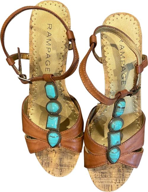 Item - Turquoise and Brown Leather Wedges Size US 7 Regular (M, B)