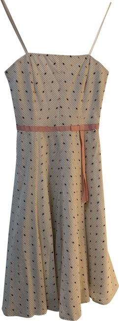 Item - White with Pink and Brown Dots Bcbg Max Azria Mid-length Short Casual Dress Size 2 (XS)
