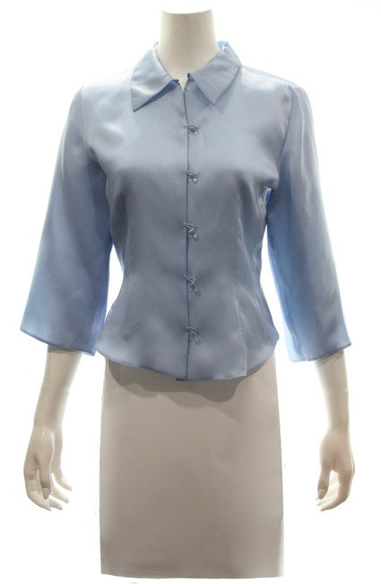 Item - Baby Blue Vintage Button Up Silk Collared Shirt Button-down Top Size 8 (M)