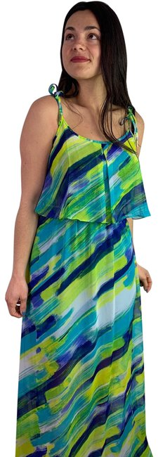 Item - Green Blue Yellow Maxi Long Cocktail Dress Size 6 (S)