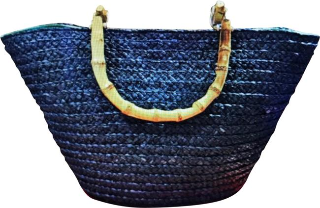 Item - With Handles Navy Blue Raffia Bamboo Tote