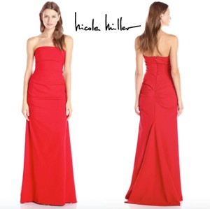 Nicole Miller Red Mermaid Strapless Party Party Gown Modern Bridesmaid/Mob Dress Size 4 (S)