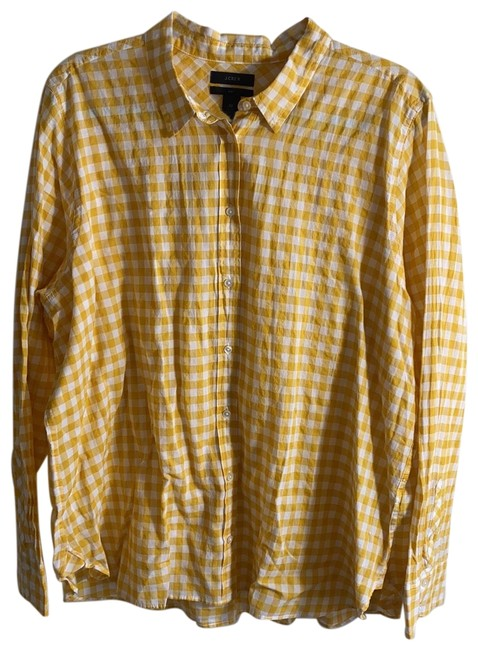 Item - Yellow and White Boy Cut Gingham Button-down Top Size 22 (Plus 2x)
