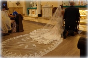 Long White/Ivory 3.5m/12ft Cathedral 2t with Metal Comb Bridal Veil