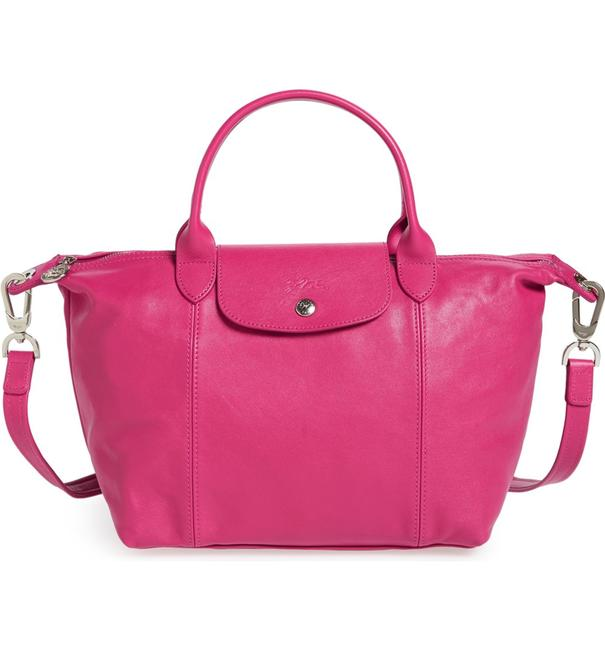 Item - Pliage Cuir with Strap Cyclamen Pink Leather Satchel