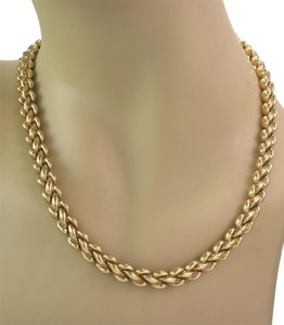Chimento Reversible Braided Puff Link 8.3mm Wide 18k 2 Tone Gold Necklace