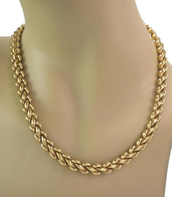 Item - 24557. Reversible Braided Puff Link 8.3mm Wide 18k 2 Tone Gold Necklace