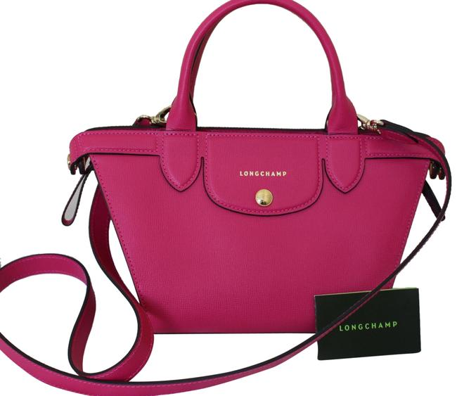 Le Pliage Heritage Mini Made In France Cyclamen Pink Leather Satchel