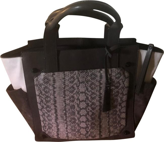 Item - Grey and White Leather Suede Tote