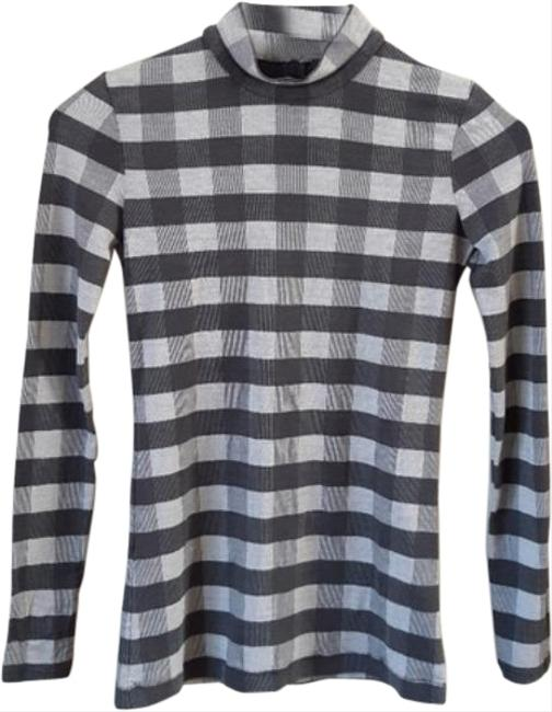 Item - Jersey Plaid Knit Turtleneck Blue Gray Sweater