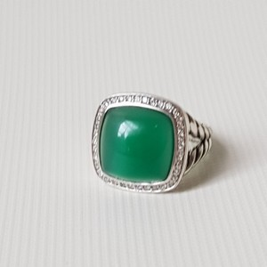 David Yurman David Yurman Albion 14mm Green Onyx Diamond Ring