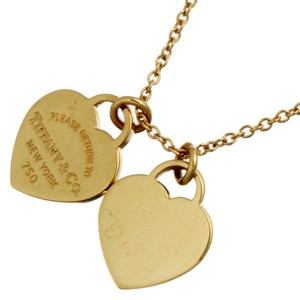 Tiffany Tiffany Return to Mini Double Heart Tag Pendant Ladies Necklace 750 Yellow Gold DH56577