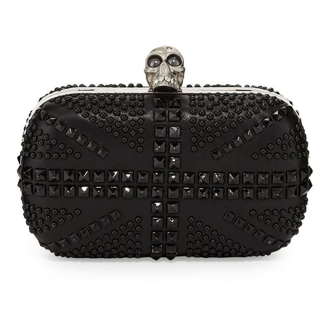 Item - 360111 Brittania Studded Skull Chain Black Leather Clutch