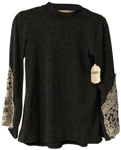 Altar'd State Lace Bell Sleeve Top Gray