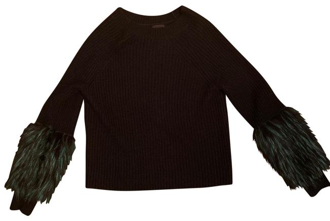 Item - Cropped Cable with Green Fur Sleeves Black Sweater