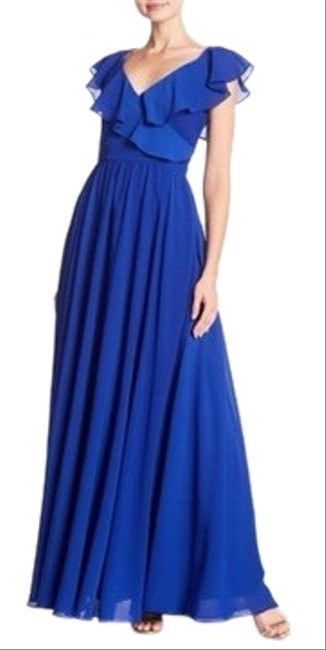 Item - Blue Ruffle Back Tie Gown Long Casual Maxi Dress Size 8 (M)