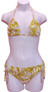 Gucci YELLOW WHITE FLORAL FLOWERS HALTER BIKINI TIE SIDE SWIMSUIT S