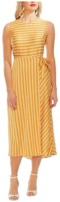 Item - Yellow Tie-side Striped Mid-length Casual Maxi Dress Size 4 (S)
