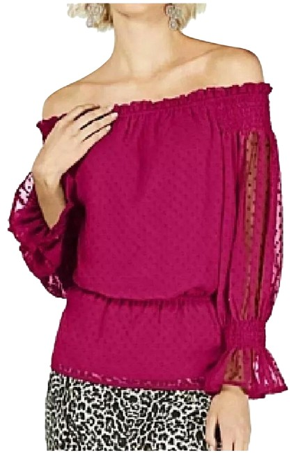 Item - Fuchsia Textured Dot Off The Shoulder Blouse Size 12 (L)