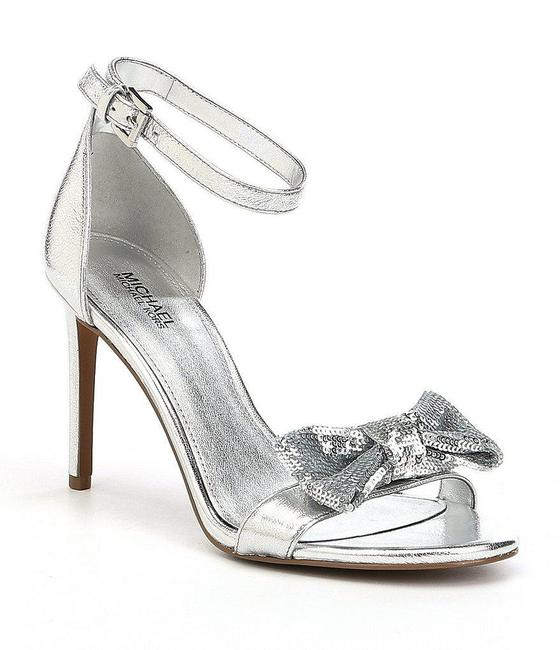 Item - Silver Sequin Bow Heels Formal Shoes Size US 10 Regular (M, B)