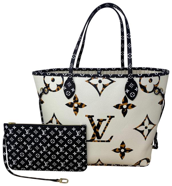 Item - Neverfull Jungle Collection Mm Ivoire Ivory White Coated Canvas Tote