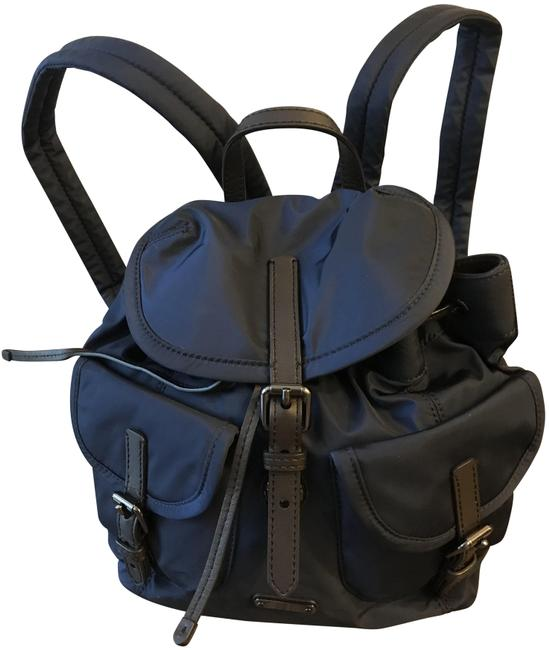 Item - Drawstring Double Pocket Navy Nylon Backpack