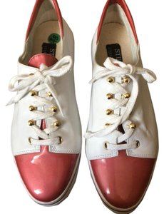 Stuart Weitzman Leather Sneakers Tie Up Sneakers Gold Rivets Sneakers White & Orange/ Red Athletic