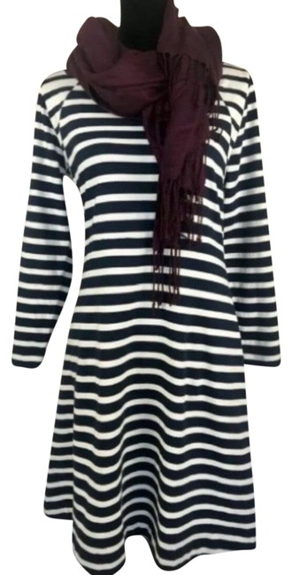 Item - Navy White 365 Knit Fit & Flare Striped Small Mid-length Work/Office Dress Size 4 (S)