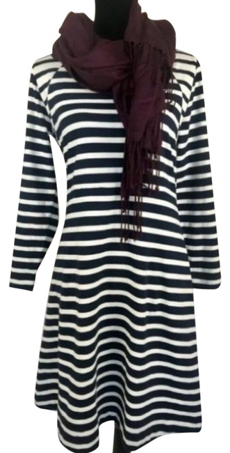 Item - Navy White L 365 Knit Fit & Flare Striped Large Mid-length Work/Office Dress Size 12 (L)