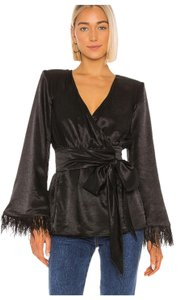 House of Harlow 1960 Satin Feather Trim Padded Shoulders Wrap Style Bohemian Style Top Black