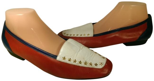Item - Red White Blue W/Gold Glory Leather W/Golden Star Accents 9.5m Flats Size US 9.5 Regular (M, B)