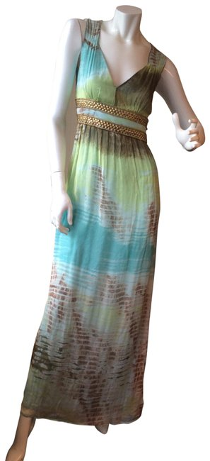 Item - Turquoise Blue Green Brown Long Casual Maxi Dress Size 2 (XS)