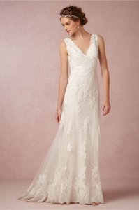 BHLDN Ivory Francine Wtoo Gown Feminine Wedding Dress Size 4 (S)