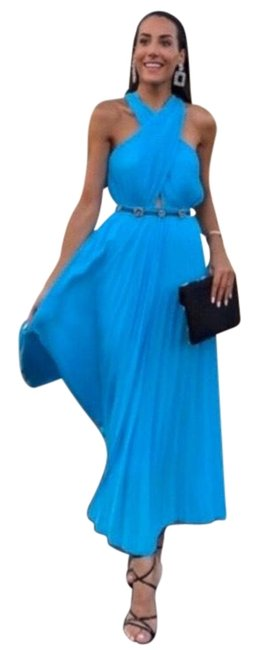 Item - Blue Cross Neck Halter Wrapped Pleated Long Night Out Dress Size 2 (XS)