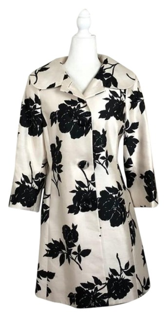 Item - Black Cream 2005 Silk Floral Coat Size 10 (M)