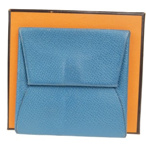 Hermès Auth Hermes □ I Leather Coin Purse/coin Case Blue
