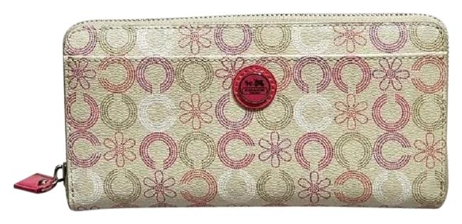 Item - Ivory/Pink/White/Silver Rare Waverly Daisy Op Art Large Accordion Wallet