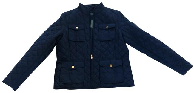 Item - Blue and Gold Quilted Zipup Lp Hardware Jacket Size Petite 12 (L)