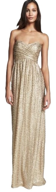 Item - Gold Sequined Strapless Long Cocktail Dress Size 4 (S)