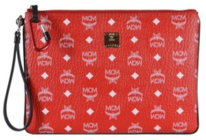 MCM Purse Handbag Clutch Wristlet in Red